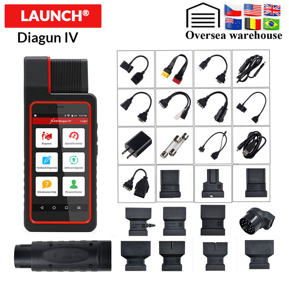 LAUNCH X431 Diagun IV OBD II Code Reader With Full System &Adapters Software 2 Year Free Update PK X431 Pros Mini Diagnotic Tool