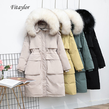 Coat Parka Down-Jacket White-Duck-Down Real-Raccoon Winter Women Fur-Collar Fitaylor