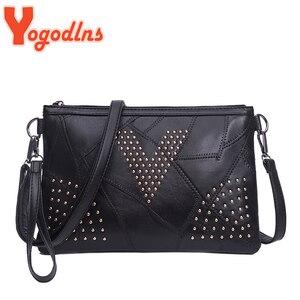 Yogodlns Women's Rivet Shoulder Bag Black PULeather Crossbody Bag Enveloped Daily Small Messenger Bags Shopping Lady Handbag