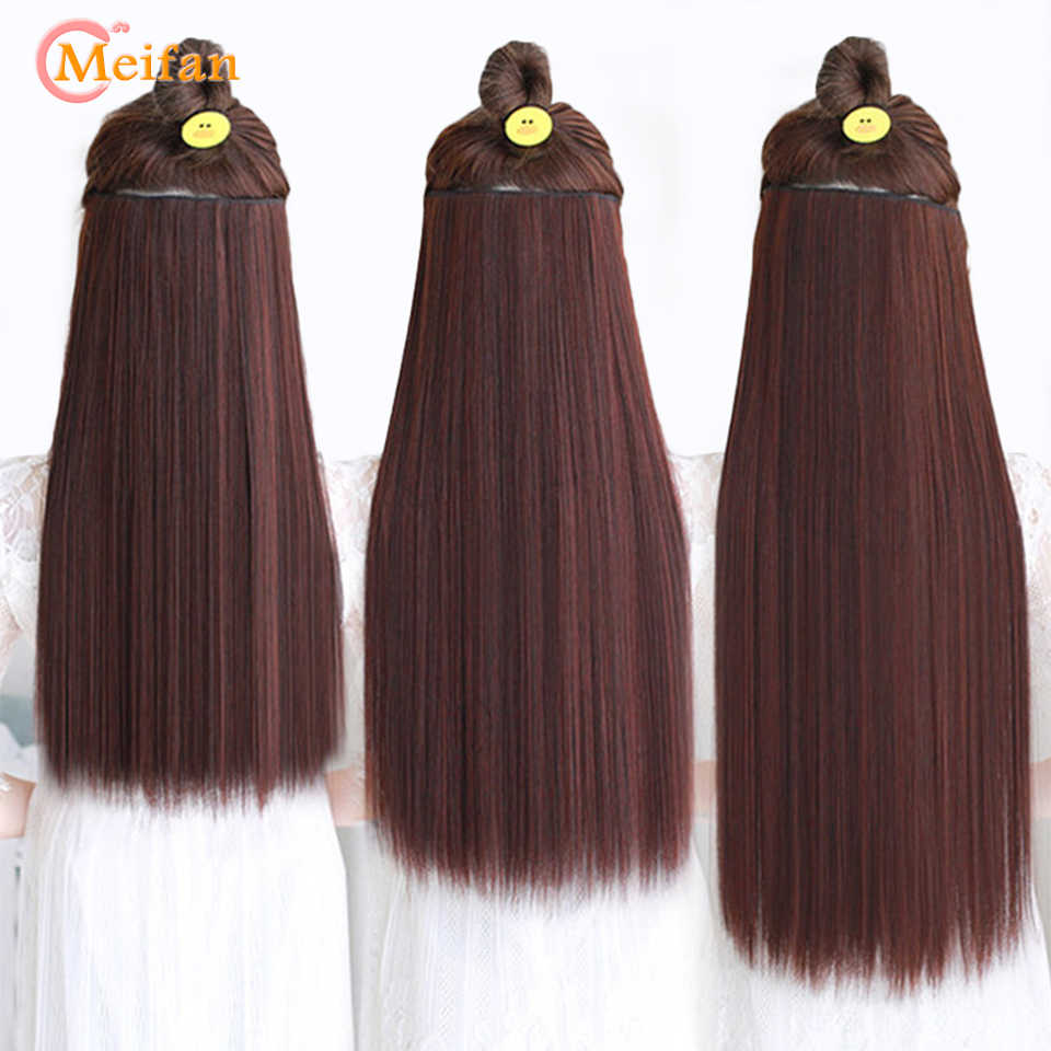 MEIFAN 3-Sizes Long Straight Natural Hair Pieces 5-Clips In Hair Extension Heat Resistant Synthetic Black Brown Hairpiece