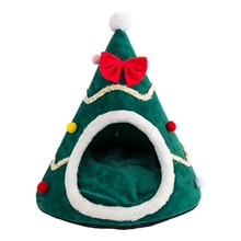 Cat Bed Cat Tent House Christmas Tree Cat House Bed Comfortable Soft Semi-Closed Triple-Cornered Cat Bed Pet Tent House(China)
