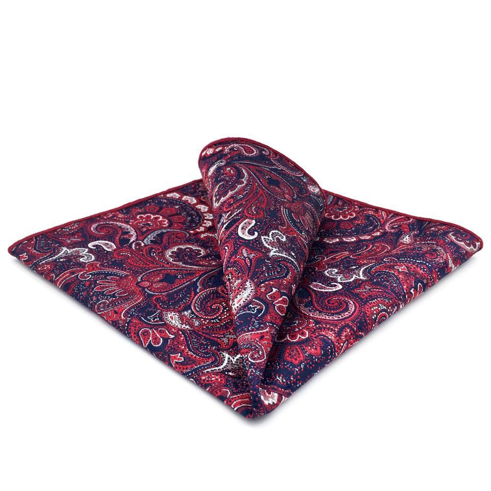 GH08 Red Multicolor Geometric Mens Pocket Square Wedding Classic Handkerchief Jacquard Fashion Party Hanky