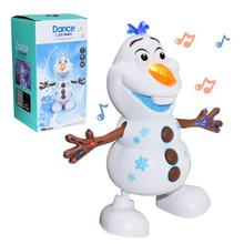 Yiwa 2021 Dancing Snowman Olaf Robot With 5 Music Led Music Flashlight Electric Action Figure Model Kids Toy Christmas Gift