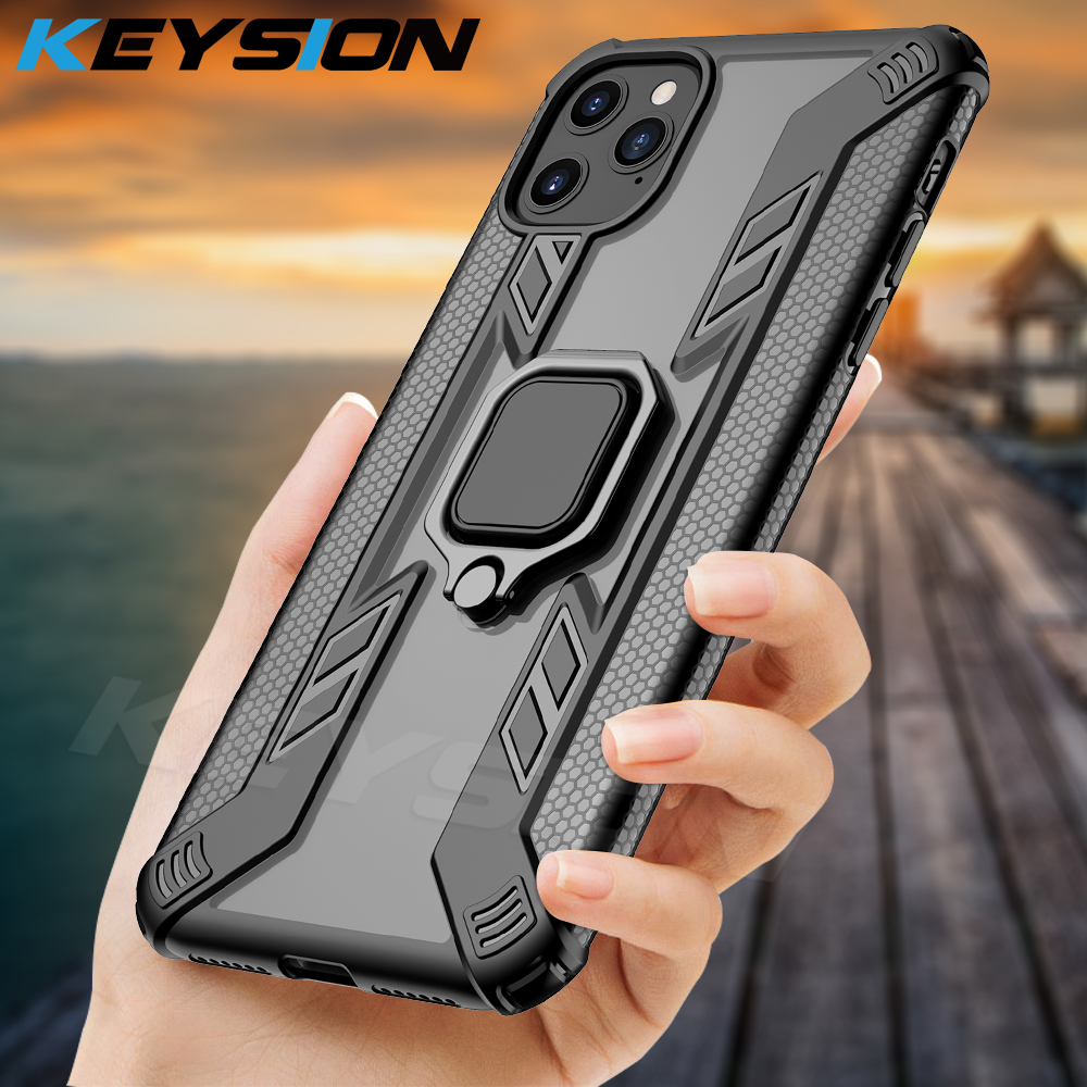 KEYSION <font><b>Shockproof</b></font> <font><b>Armor</b></font> <font><b>Case</b></font> <font><b>For</b></font> <font><b>iPhone</b></font> <font><b>11</b></font> <font><b>11</b></font> Pro Max 2019 funda Stand Car Ring Phone Cover <font><b>for</b></font> <font><b>iPhone</b></font> XS Max XR X 8 7 Plus image