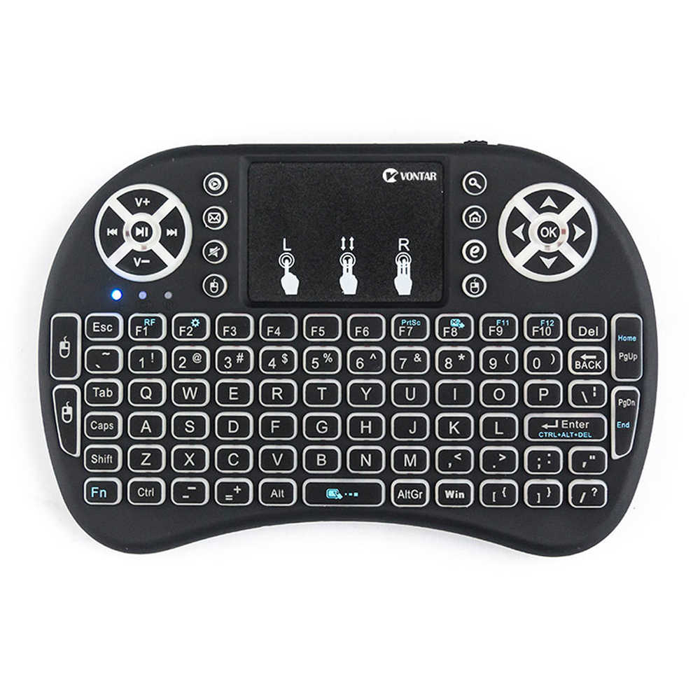 Vontar I8 Toetsenbord Backlit Engels Russisch Spaans Air Mouse 2.4Ghz Wireless Keyboard Touchpad Handheld Voor Tv Box H96 Max pc