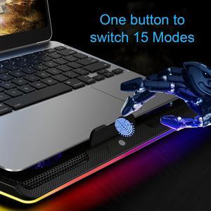 Image 5 - TeckNet الألعاب مبرد كمبيوتر محمول دفتر لوحة التبريد 5 RGB LED المشجعين قوية تدفق الهواء قابل للتعديل لوحة التبريد لأجهزة الكمبيوتر المحمول 12 17 بوصة