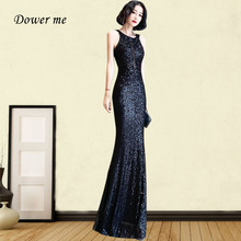 Black Mermaid Evening Dress GK098 Halter Sleeveless Women Party Gowns Sexy Backless Robe De Soiree Shiny Sequin Formal Dresses evening dress one shoulder sleeveless women party dresses floor length robe de soiree 2019 sexy split sequin formal gowns f188