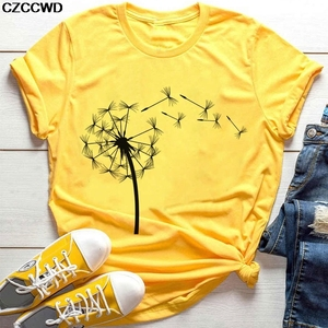 2020 Summer Wildflower Dandelion Bouquet Print Women Tshirt Casual Yellow T-shirt Funny T Shirt Gift For Lady Yong Girl Top Tee