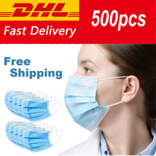 500pcs Disposable Dustproof Mouth Mask 3 Layers Non-Woven Surgical Medical Earloop Mouth-Muffle Respirator