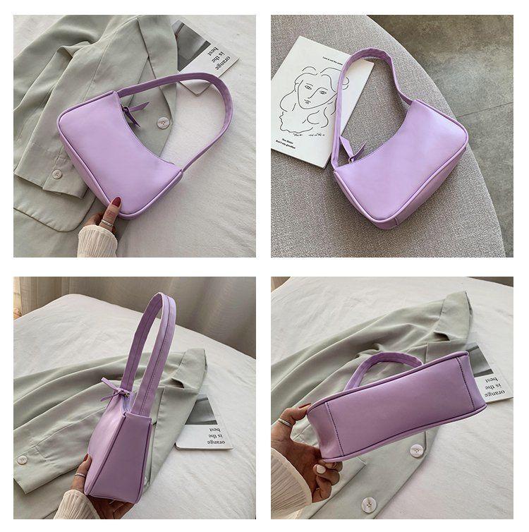 Fashion Design Women Small Baguette Handbags Soft PU Leather Ladies Armpit Shoulder Bags Vintage Simple Girls Clutch Purse Tote