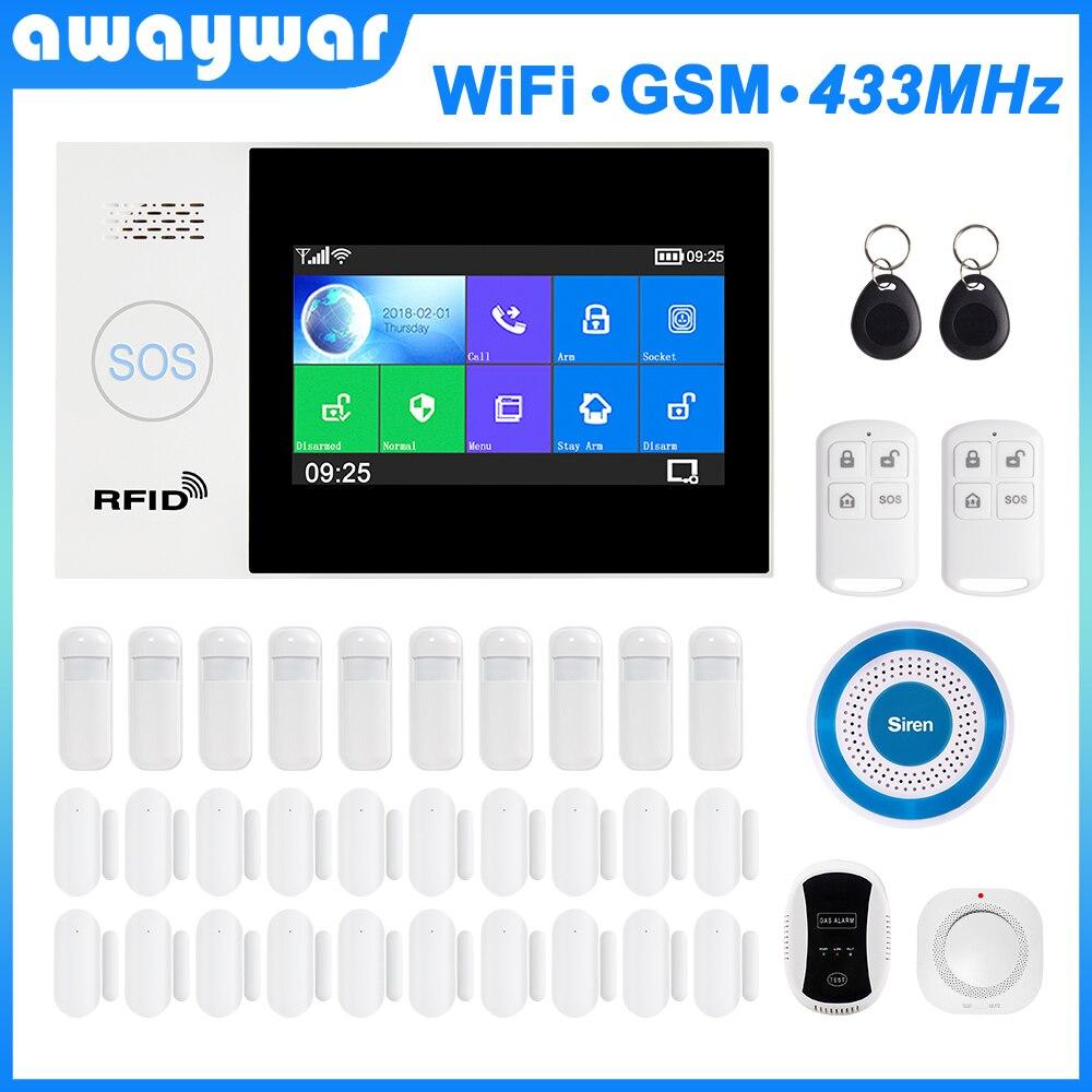Awaywar WIFI GSM smart Alarm System home Security Einbrecher kit 4,3 zoll touchscreen APP Fernbedienung RFID Arm Entwaffnen