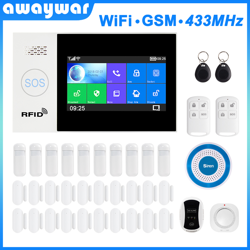 Awaywar WIFI GSM smart Alarm System home Security Burglar kit 4.3 inch touch screen APP Remote Control RFID Arm Disarm