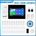 Awaywar Wi-Fi GSM умная сигнализация Домашняя безопасность охранный комплект 4,3 дюймов сенсорный экран приложение дистанционное управление RFID Arm ...