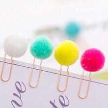 100 sztuk/partia piękny kreatywny Metal zakładki kolorowe włosy piłka spinacz uczeń papiernicze biuro szkolne