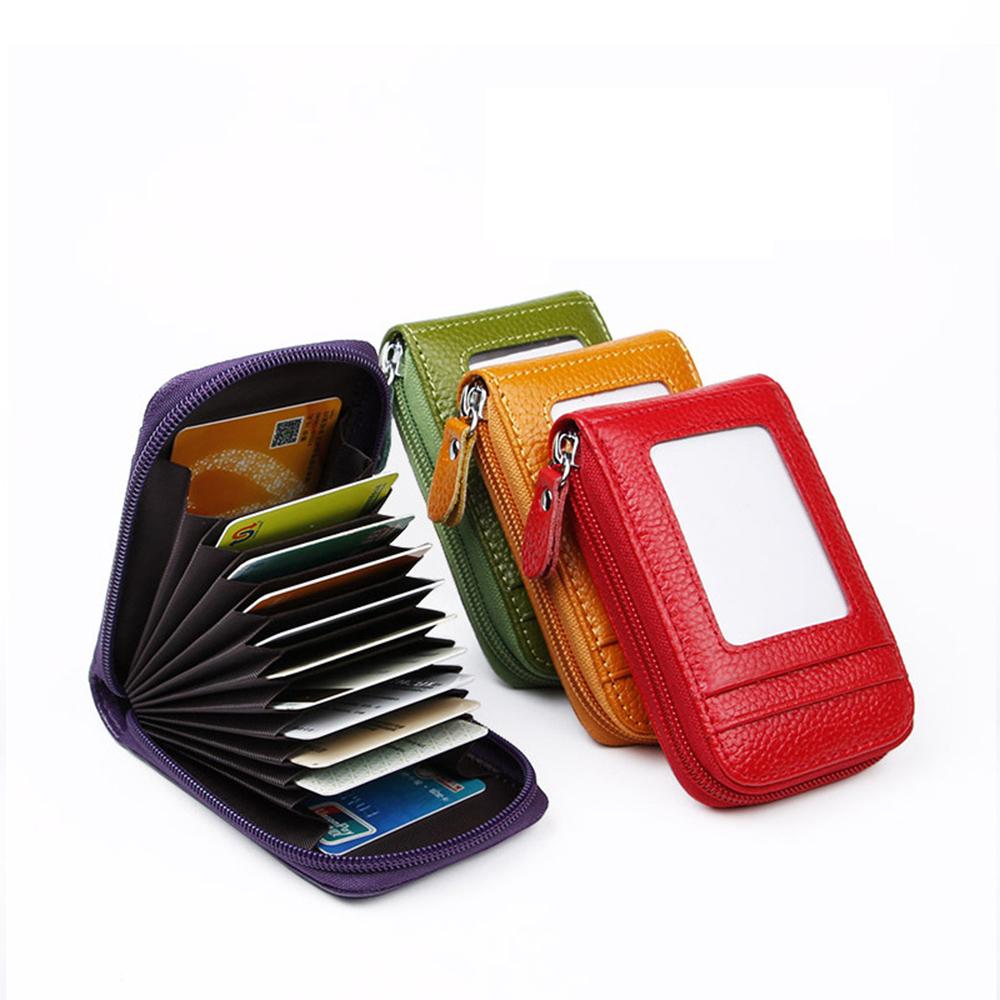 2021 New Vintage Genuine Leather Men's Wallet Credit Card Holder RFID Blocking Zipper Money Pouch Card Protect Case Pocket Purse