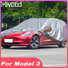 Hivotd for tesla model 3 Accessories car covers Snow ice rain waterproof dust sun UV Rain shade Protective cover exterior trim buildreamen2 full car cover waterproof sun shade snow rain hail scratch resistant cotton cover for renault captur koleos sandero