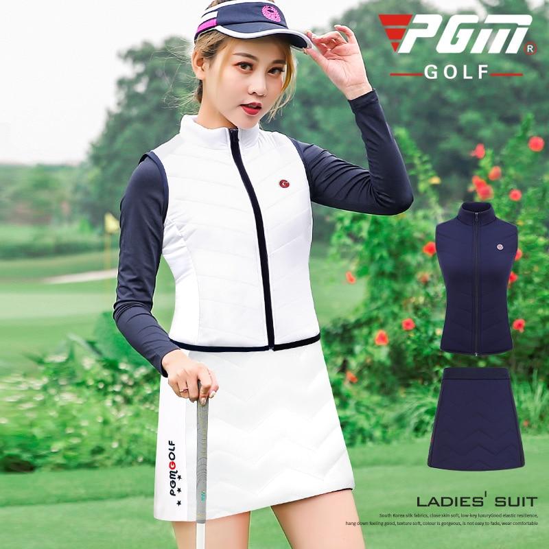Pgm Golf Thicken Warm Clothes Suit Women Sleeveless Jacket Vest Set Velvet Shorts Skirt Lady Golf Tennis Sportswear Fashion Wear