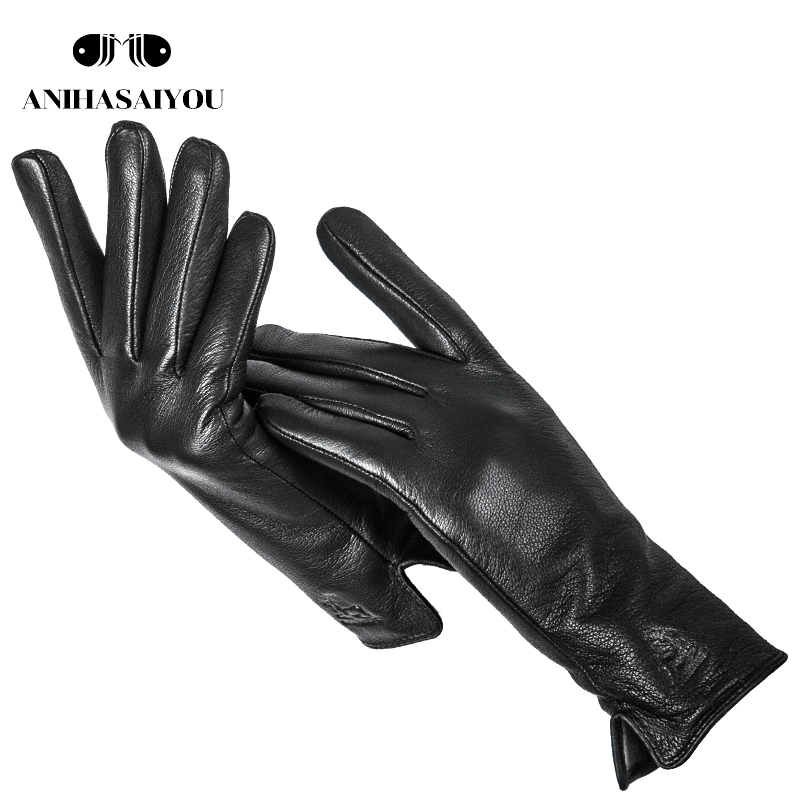 New Buckskin Leather Gloves Black Leather Gloves Women High Grade Genuine Leather Gloves Women Winter Leather Gloves Women -LPGB