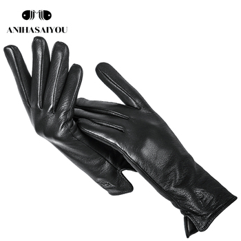 Nowe skórzane rękawiczki Buckskin czarne rękawiczki skórzane damskie wysokiej jakości oryginalne skórzane rękawiczki damskie zimowe skórzane rękawiczki damskie-LPGB tanie i dobre opinie anihasaiyou Kobiety Genuine Leather Dla dorosłych Stałe Nadgarstek Moda 24cm-25cm