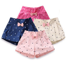 Kids Summer Pant Shorts Clothing Flower-Girls Fashion Princess Bow for Heart-Print Children