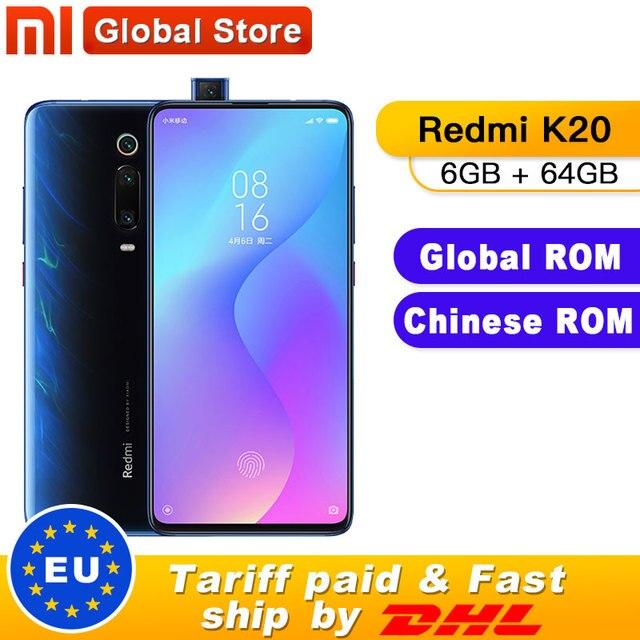 """Küresel Rom Xiaomi Redmi K20 6GB 64GB Smartphone Snapdragon 730 48MP arka kamera Pop up ön kamera 6.39 """"AMOLED 4000mAh"""