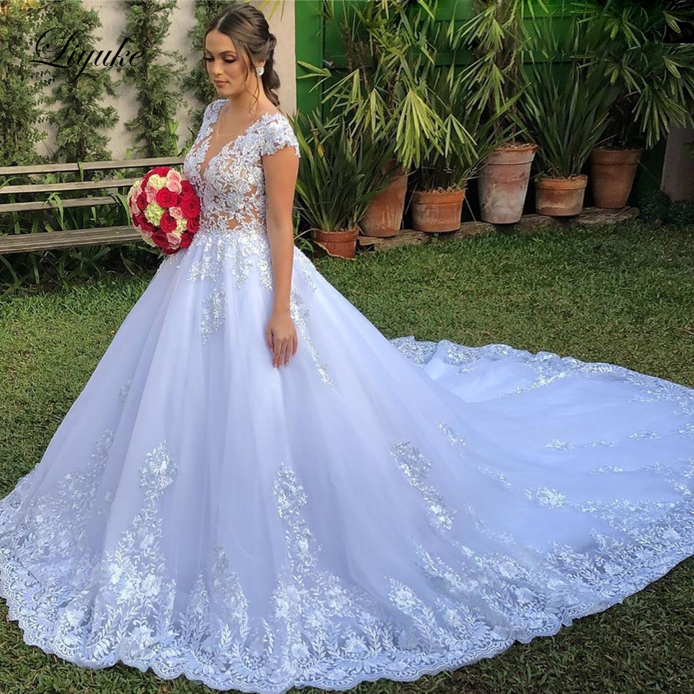 Liyuke Stunning Off White A Line Wedding Dress With Rhinestones Cap Sleeve Gorgeous Bridal Dress