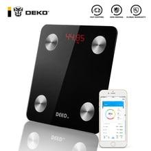 DEKO – balance de graisse corporelle intelligente, Bluetooth, salle de bain, surveillance de la santé, imc numérique sans fil, analyseur de Composition corporelle