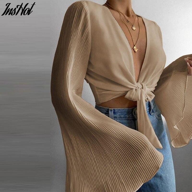 Весеннее Платье Flare с длинным рукавом пляжные рубашки блузка твердый сексуальный глубокий v-образный вырез женская рубашка Blusas лето галстук...