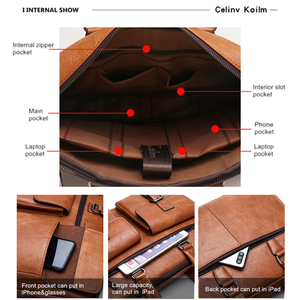 Image 4 - Celinv Koilm Men Business Bag For 133 inch Laptop Briefcase Bags Set Handbags High Quality Leather Office Bags Totes Male