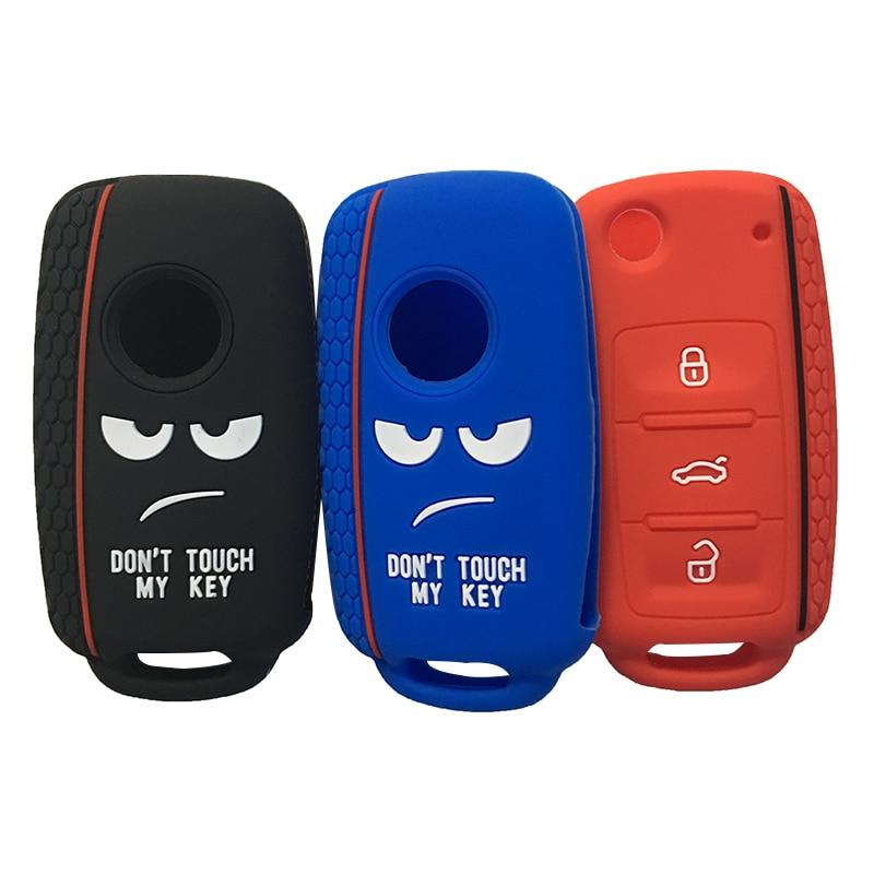 Otomobiller ve Motosikletler'ten Araba için Anahtar Kılıfı'de Dont Dokunmatik Benim Anahtar Kapak için Volkswagen Bora POLO GOLF Passat Beetle anahtar kapağı kılıfı için Silika Jel Kılıf Anahtarlık Alarmı title=