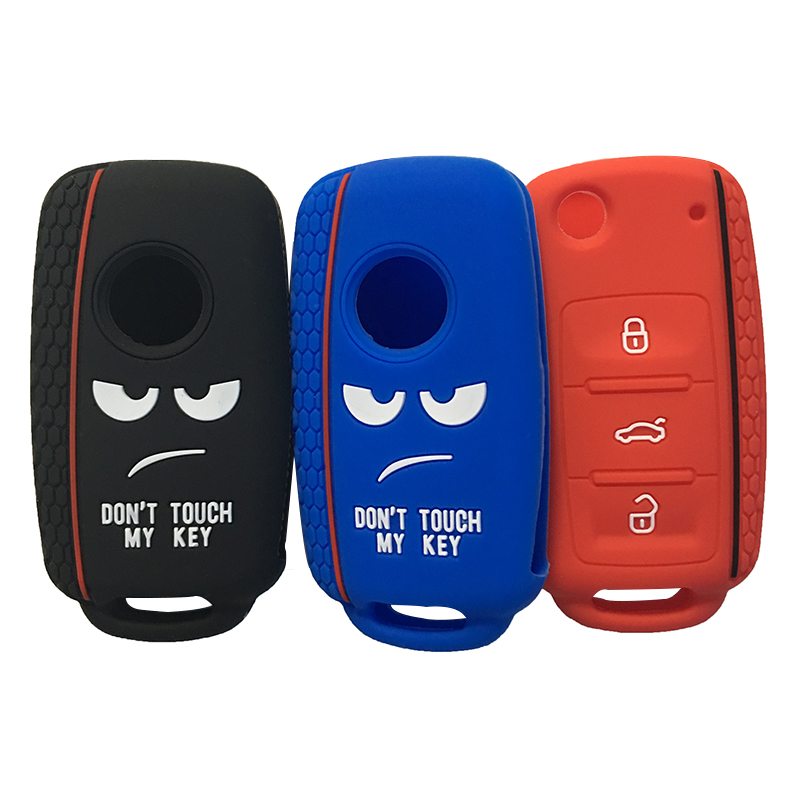 Dont Touch My Key Cover For Volkswagen Bora POLO GOLF Passat Beetle Key Cover Case Silica Gel Case For Keychain Alarm