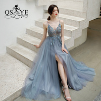 QSYYE 2019 ever pretty Long Prom Dresses Tulle v neck spaghetti strap Beading Floor Length Formal Evening Dress Party Gown