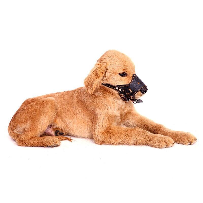 Silly ~~~ Pet PU Leather Dog Mouth Sleeve Anti-Bite Anti-Called Golden Retriever ~~~ Zhi Fei Qi Pet Dog ~~~ Dog Mask ~~~