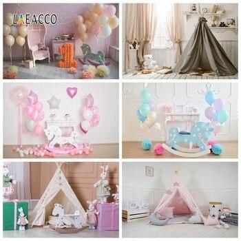 Laeacco, fondos de cumpleaños para bebé para globos de fotografía, fondos de foto de mesa de troyano, retrato para niños, fotocall de fotofono