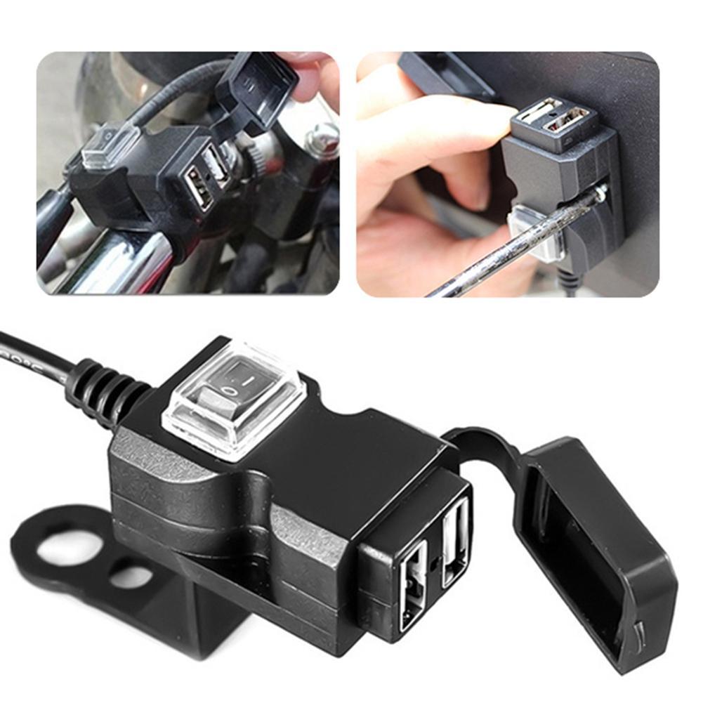 12-24 V/9-90VThe NewDual USB Port Wasserdichte Motorrad Motorrad Lenker Ladegerät Adapter Netzteil Buchse für Telefon mobile