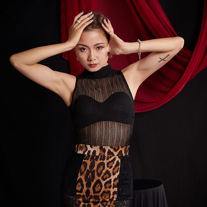 Latin Dance Shirts Women Practice Top Tango Cha Cha Rumba Samba Salsa Dancewear Ladies Sexy Black Lace Seethrough Vest DNV12256