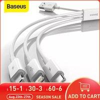Baseus 3 in 1 USB Kabel für iPhone 12 Pro Max Schnelle Ladekabel für Android Telefon Huaiwei Xiaomi Typ C Kabel USB Kabel Draht