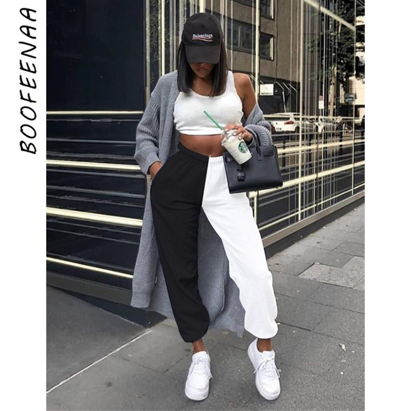 BOOFEENAA Black And White High Waist Baggy Pants Womens Bottoms 2020 Autumn Winter Sweatpants Korean Joggers Trousers C87-AD27