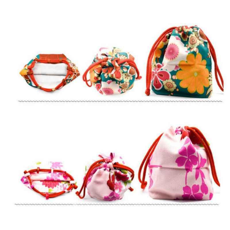 Japonês kimono yukata impressão drawstring presente sacos de cordão sacos de natal bolsa de viagem roupas de armazenamento