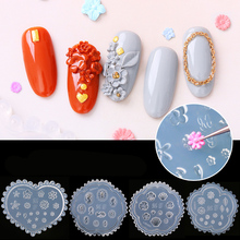 3D Silicone Mold Nail Stamping Nails Carving Stamping Plate Nail Art Template UV Gel Polish Manicure Mould DIY Tools E076 1pcs black flower lace nail stamping plates stainless steel nail art stamp template manicure tools uv gel nails art decorations