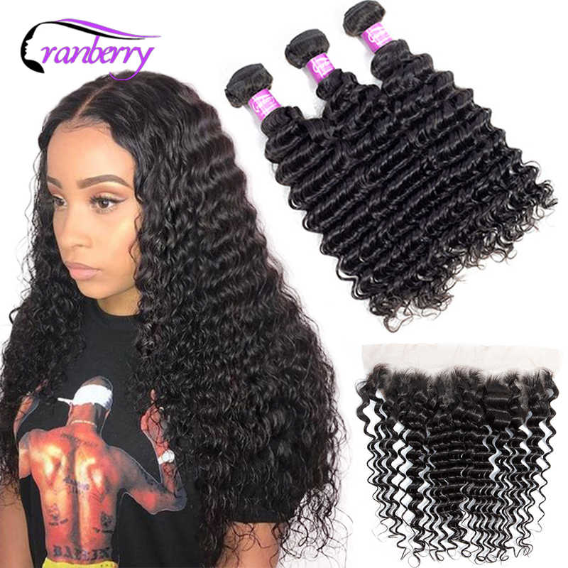 Brazilian Deep Wave 3 Bundles With Frontal 13x4 Ear To Ear Closure Free Part Cranberry Hair Remy Brazilian Human Hair Extension