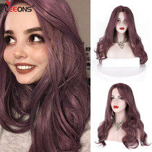 "Leeons 24"" Body Wave Lace Front Wig Synthetic Resistent Free Parting Glueless Lace Wigs For White Women Pink Purple Lavender Wig(China)"