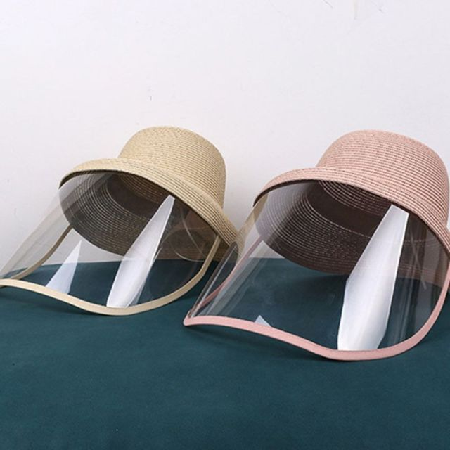Women Beach Straw Sun Hat with Anti-Spitting Splash Protective Face Shield Anti-Fog Saliva Dustproof Mask Fisherman Cap