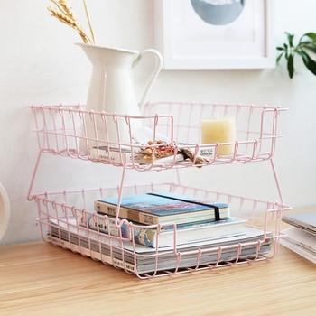 Organizador de maquillaje de Arte de hierro desmontable caja de almacenamiento de doble capa práctico plegable soporte cosmético organizador de escritorio de baño