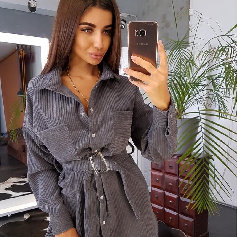 Women Winter Belt Straight Mini Dress Ladies Long Sleeve Turn Down Collar Party Dress 2019 Solid Vintage Fashion Dress 1
