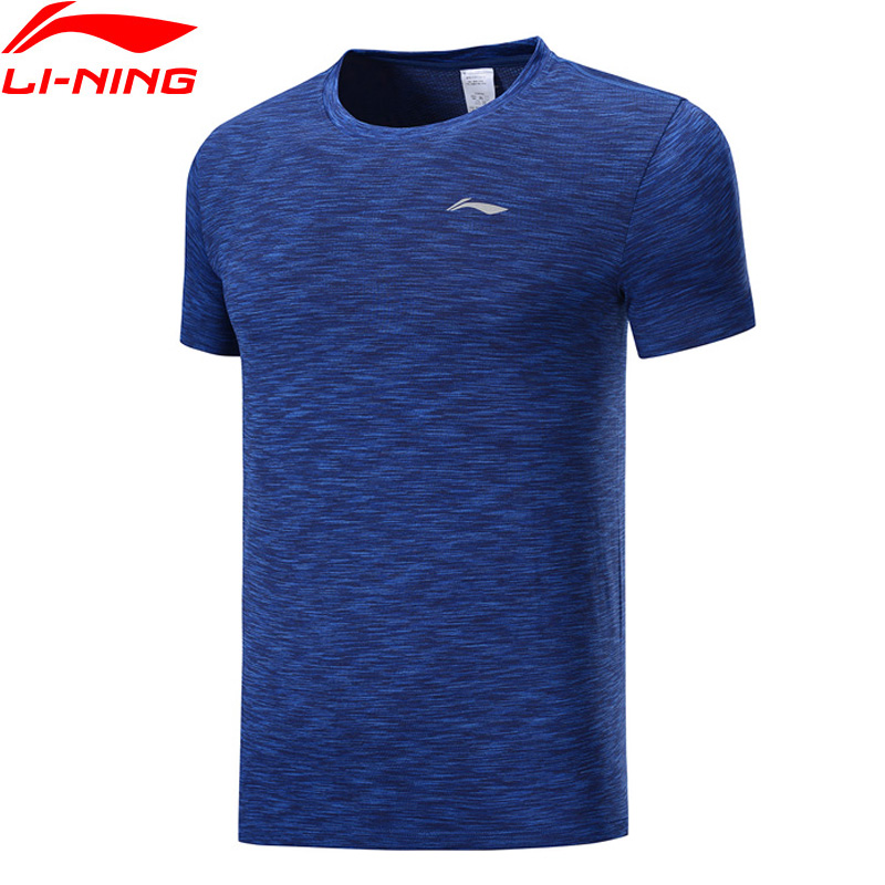 Li-Ning Men Running Series Short Sleeve T-shirts Regular Fit Nylon Polyester LiNing Li Ning Sports Mesh Tees ATSP125 MTS3064