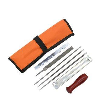 Professional Chainsaw Chain Sharpening Kit Tool Set Hardwood Handle + Round/Flat File Guide Bar Sharpener Tools
