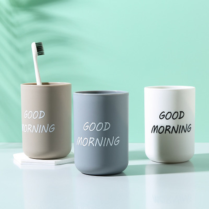 Simple Nordic Travel Portable Washing Cup Bathroom Sets Plastic Toothbrush Cup Holder Good Morning Tooth Brush Storage Organizer