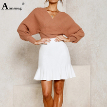 Aimsnug Solid V-neck Soft Slim fit bat Long Sleeve Backless 2019 New Autumn Winter Elegant Women Short Section knitting Sweater