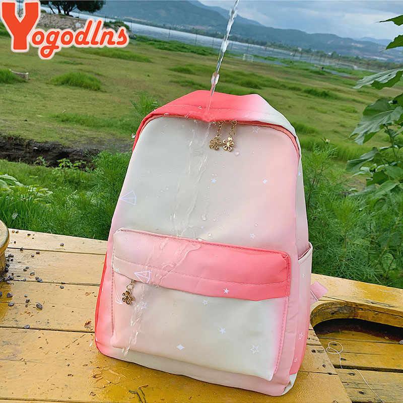 Yogodlns勾配色の女性のバック高品質防水ナイロンバックパック虹色ランドセル旅行bagpack